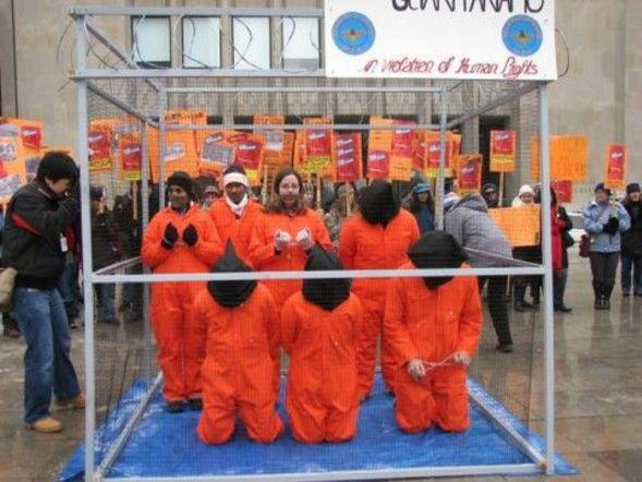 AI Toronto Close Guantanamo Rally -- mock detention centre