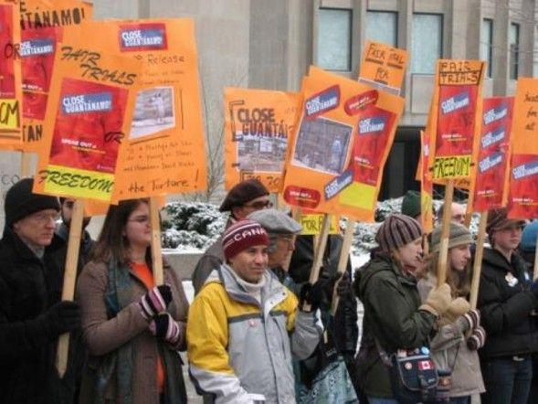 Amnesty International Toronto Close Guantanamo Rally -- protesters