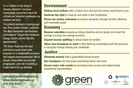 Toronto-Danforth candidate positions on issues postcard back
