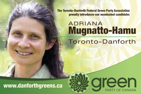 Toronto-Danforth candidate positions on issues postcard front
