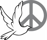 Peace dove and sign