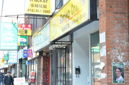 A Toronto-Danforth Green Party candidate election sign in East Chinatown
