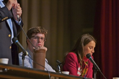 Tim Whalley listens at education debate