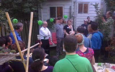 Toronto-Danforth candidate Tim Whalley at volunteer BBQ